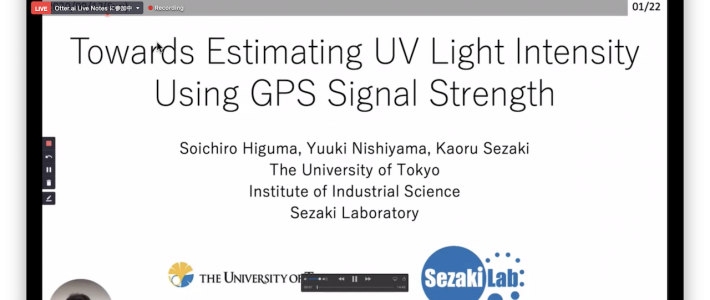 "Soichiro Higuma presented his research ""Towards estimating UV light intensity using GPS signal strength"" at an in-conjunction workshop (WellComp2020) in ACM UbiComp2020"